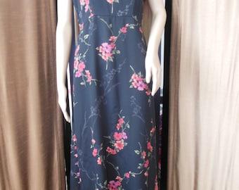 Jackie O' Surf & Turf of Calif Focus Studio Dress Sleeveless Floral Empire Waist Tie Back   size 12