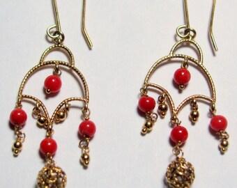 "Fine MILOR Reddish Orange CORAL Chandelier Dangle Earrings 14K Yellow Gold 1.99"""