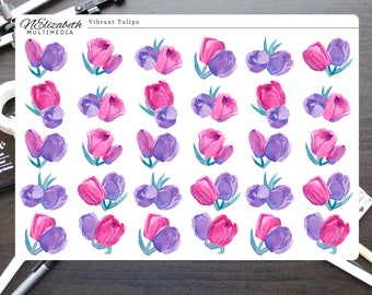 Vibrant Tulips Stickers