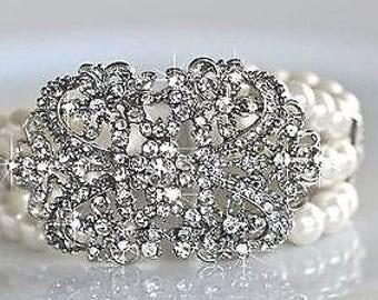Handmade Vintage Inspired Rhinestone & Pearl Bridal Bracelet, Bridal, Wedding (Pearl-44)