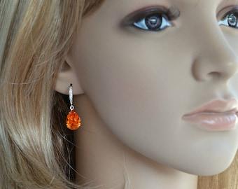 Handmade Small Swarovski Crystal Tangerine Teardrop Dangle Bridal Earrings, Bridal, Wedding (Sparkle-2363)