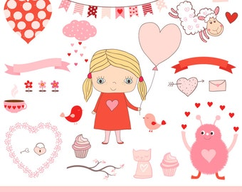 Cute Valentine monsters clipart Kids Valentine clipart Pink