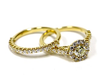 1.40 CT. Diamond Engagement Two Ring Set in 14K Yellow Gold