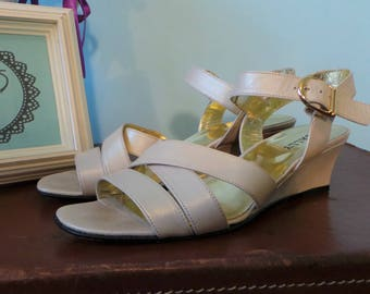 80s Bally 'Moya' Cream Leather Strappy Sandals, Pearlescent Summer Wedges, Vintage Light Gold Occasion Shoes, UK 6