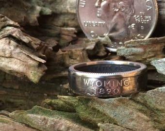 Silver Wyoming quarter coin ring