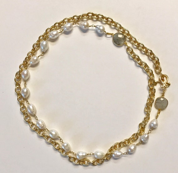 """Pearl Necklace, Baroque White Pearl and Gold Texture Link Necklace, bezel Rutile Connectors, Double Wrap, Gold Plated Toggle Clasp, 44"""" Long"""
