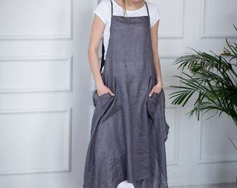 Grey linen apron dress, linen dress for women, linen apron style dress