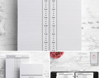 Printable Vertical Hourly Daily Planner, Notebook A5, Schedule Large, Planbook, Filofax Pages, Franklin Refills, Journal, Webster's Inserts