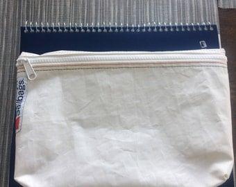 medium zip pouch, marine zipper.