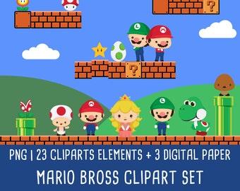 20% OFF Mario clipart, mario bros clip art, super mario, nintendo clipart, videogames clipart, digital paper, Instant Download PNG - 300 dpi