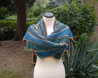 Hand knit shawl stole scarf striped swing