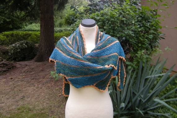 Hand knit shawl stole scarf striped swing