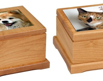 Pet Urn. Red Alder with a ceramic top with your Pets Photo in full color