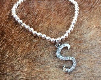 silver beaded bracelet with initial charm