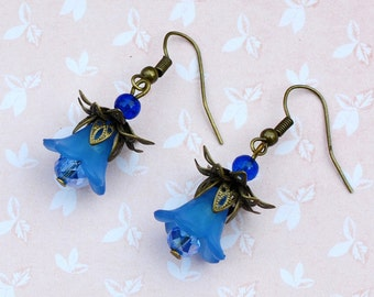 Vintage flower earrings, lily earrings, blue floral earrings, bluebell earrings, romantic earrings