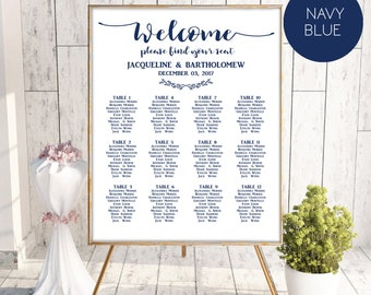 Navy Blue Wedding Seating Chart Template, Seating Chart Printable, Seating Board, Editable Seating Chart, Seating Poster, Seating plan,