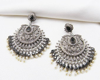 Pearls and Stones Chandbali Earrings - DH8 JOOLRY