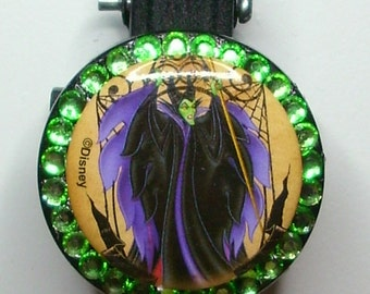 Maleficent badge reel with lime rhinestones