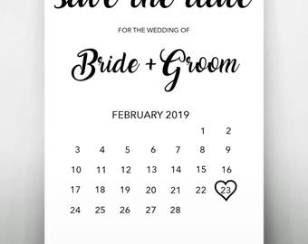 Monochrome Save The Date printable