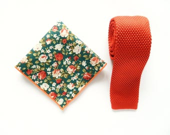 knitted orange skinny tie green orange pocket square wedding knit tie gift for him groomsmen uk