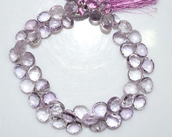 """Natural Pink Amethyst Faceted Heart Shape Beads - Pink Amethyst Heart Shape Briolette , 8x8 - 10x10 mm , 8"""" , BL1486"""