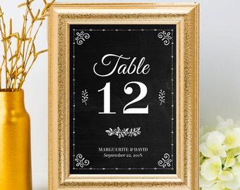 Printable Chalkboard Table Number Name Card Signs - Black, Editable PDF, Instant Download