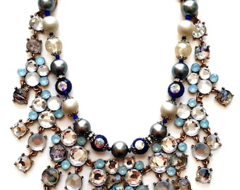 Blue crystal pacific opal reclaimed glass and vintage pearls necklace
