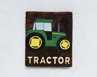 Small Hand Painted Tractor Nursery Wall Decor