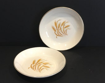 Vintage Golden Wheat Bowls , Shallow Bowl , 22 K Gold , Made in USA , Oven Proof , Wheat Plate , Salad Bowl