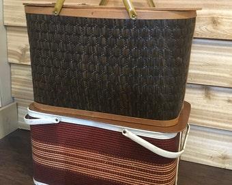 Vintage picnic basket, brown basket, woven, riser, cottage, cabin, lake, camping, decor, stacking,