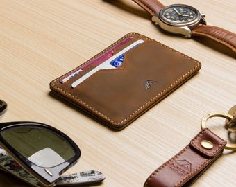 Super Slim Leather Card Holder / Card Wallet - A-SLIM - Raw Tan - Yaiba - Credit Card Wallet - Cardholder - Card Case - Front Pocket Wallet