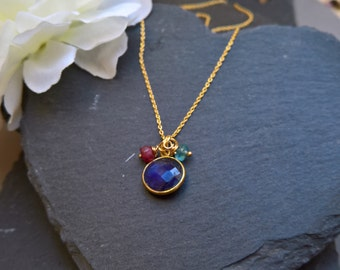 Blue sapphire necklace, saphire necklace, gold sapphire necklace, delicate gold necklace, gold delicate necklace, gift for her
