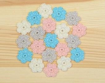 Crochet Flowers, Crochet applique, 20 pcs small flowers, cotton flowers,  applique flower, scrapbooking flower, flower embellishment.