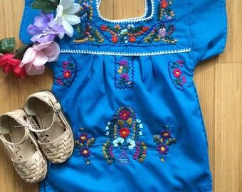 girls mexican dress - pom pom trim - kids embroidered mexican dress - custom baby mexican dress - infant mexican dress