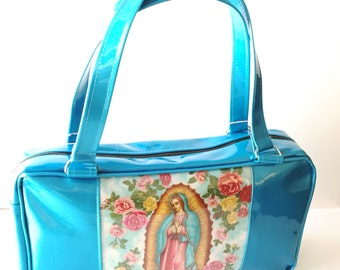Turquoise Virgin of Guadalupe Business Bag Purse, Sparkle Glitter Auto Upholstery Vinyl, Retro Shoulder Bag Tote