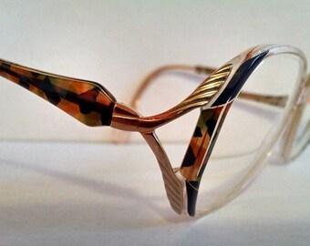 1980's Silhouette SPX M 1805 Vintage Oversized Eyeglasses Frames Multi-Color Made In Austria