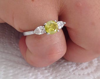 Certified 2.00 CT Fancy Yellow Round cut Diamond engagement Ring 14k white gold  hand made