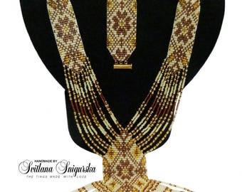 Beige gold jewelry Beige gold necklace Beige gold bracelet Beaded necklace Gerdan Holiday necklace and bracelet Boho necklace Boho bracelet