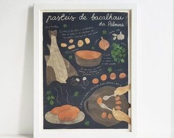 Illustrated recipe art print | Pasteis de bacalhau | Illustrated food | Kitchen art