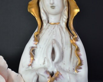 Vintage Italian pottery Madonna Virgin Mary Milano signed religious sculpture figurine/offered by poshparagons for you or to give as a gift