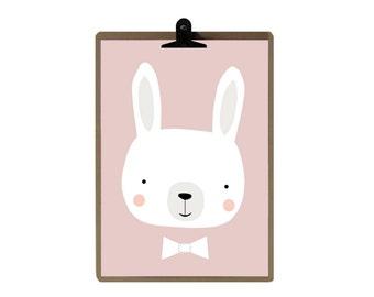 Rabbit nursery print - Pink color Nursery art prints - baby nursery decor - nursery wall - Children Art - Kids Room