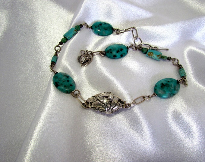 """Featured listing image: Item 5087 - """"Nature's Pod"""" Handcrafted, sculpted 999 Fine Silver with Turquoise, 925 Sterling Handcrafted chain, Sesame Jasper and Magnasite"""