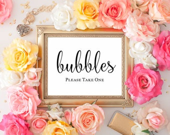"Bubble Send Off Printable Wedding Sign || 8""x10"" DIGITAL DOWNLOAD Wedding Bubbles Sign 