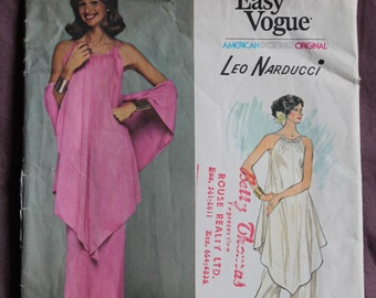 Women's Evening Tunic, Skirt, Pants and Shawl Vintage 1970s Vogue 1390 American Designer Original Leo Narducci Size 12 Bust 34 UNCUT and FF