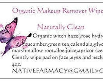 Organic Makeup Remover Wipes/ travel size/natural skincare/organic skincare/natural makeup/, Naturally Clean