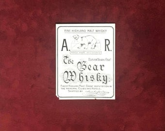 Vintage A.R. The Bear Whiskey Bottle Label