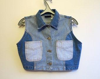 Vintage Womens Blue Denim Vest Stripped Jeans Vest Fitted Vest Cropped Cotton Waistcoat Medium Size