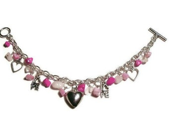Silver Love Heart Charm Bracelet / Pink Stone Bracelet / Rose Quartz, Pink Howlite and MOP Shell / Valentine Bracelet Gifts for Her Under 20