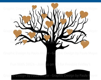 Family Tree SVG, Tree of Hearts, Fun With SVGs Digital Files - Edit, Print - Cut on your Cricut or Silhouette, Tree SVG, SVG Files, svg file