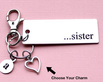 Personalized Family Key Chain Sister Stainless Steel Customized with Your Charm & Initial - K898